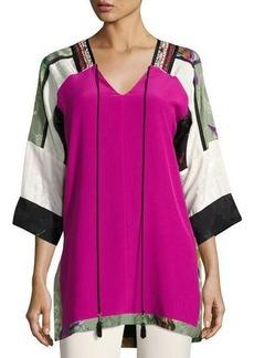 Etro Colorblock Silk Tunic Top