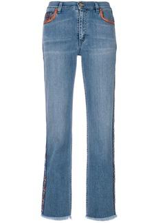 Etro cropped paisley stripe jeans - Blue