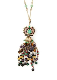 Etro Crown beaded-tassel pendant necklace