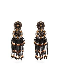 Etro Crystal and bead tassel clip earrings