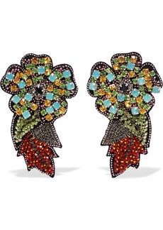 Crystal, bead and felt clip earrings