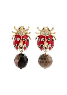 Etro Crystal-embellished brass ladybird drop earrings