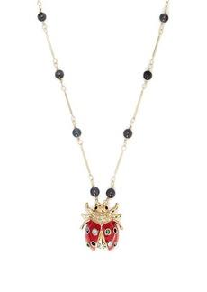 Etro Crystal-embellished ladybird-pendant necklace