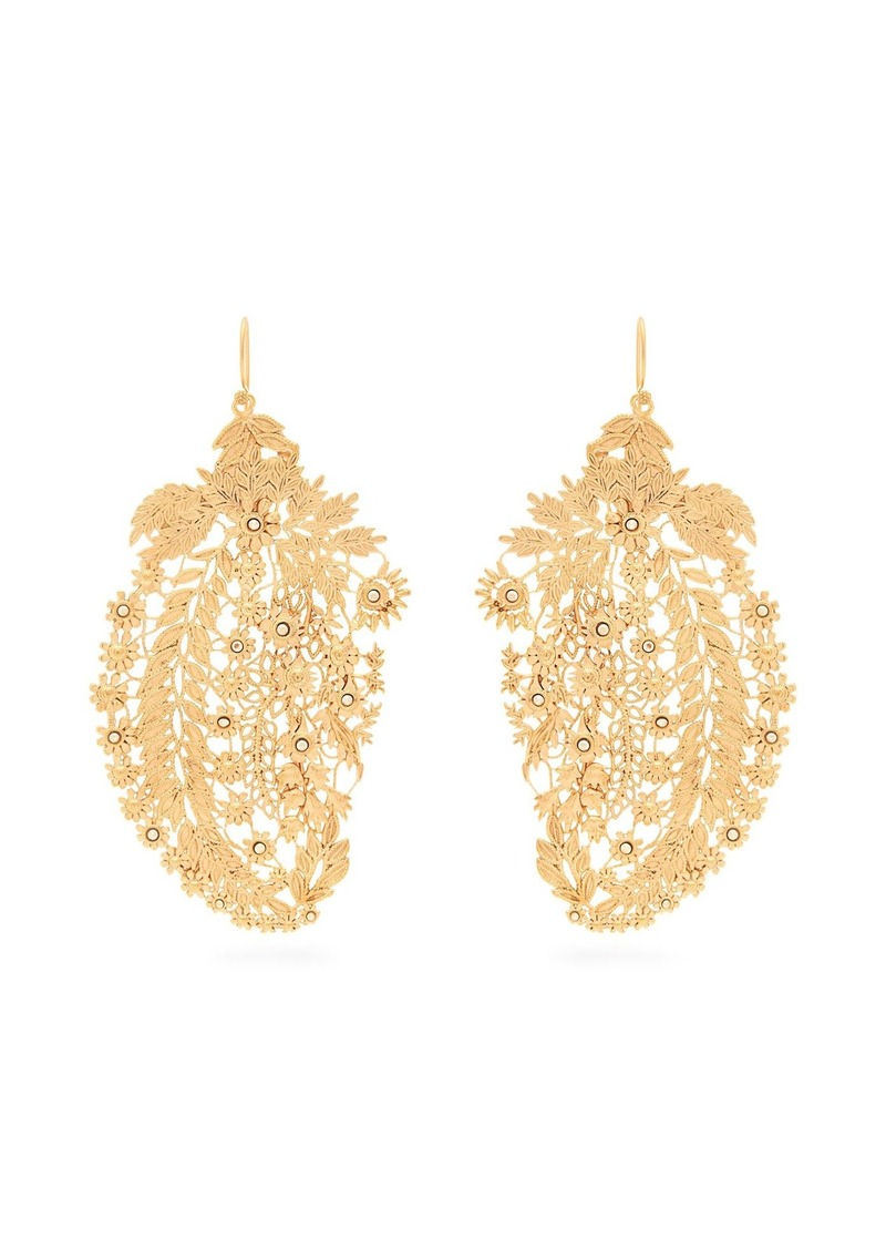 Etro Crystal Embellished Laser Cut Paisley Earrings