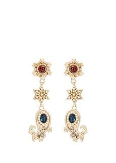 Etro Crystal-embellished paisley motif earrings