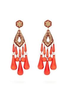 Etro Crystal-embellished teardrop clip-on earrings