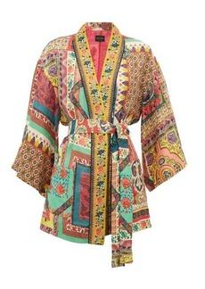 Etro Dalia belted printed floral-jacquard jacket