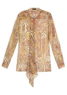 Etro Decorative-print silk-blend georgette blouse