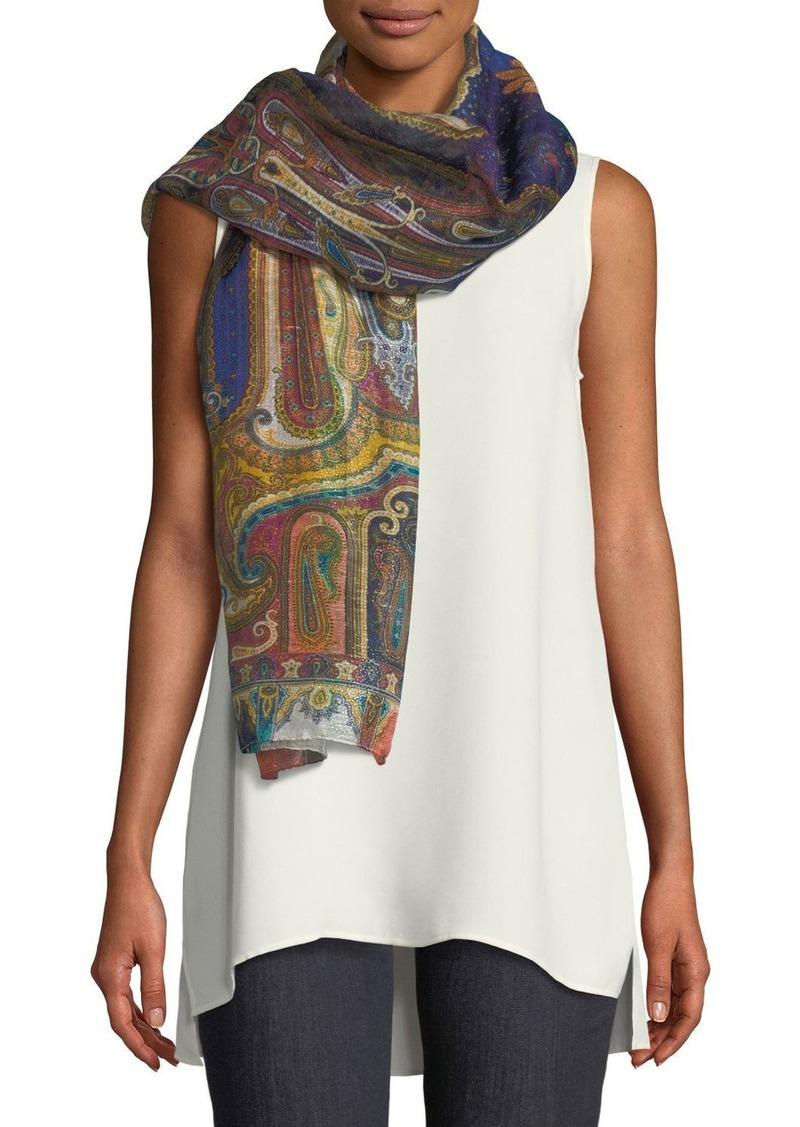 Etro Delhy Linen-Silk Paisley Scarf