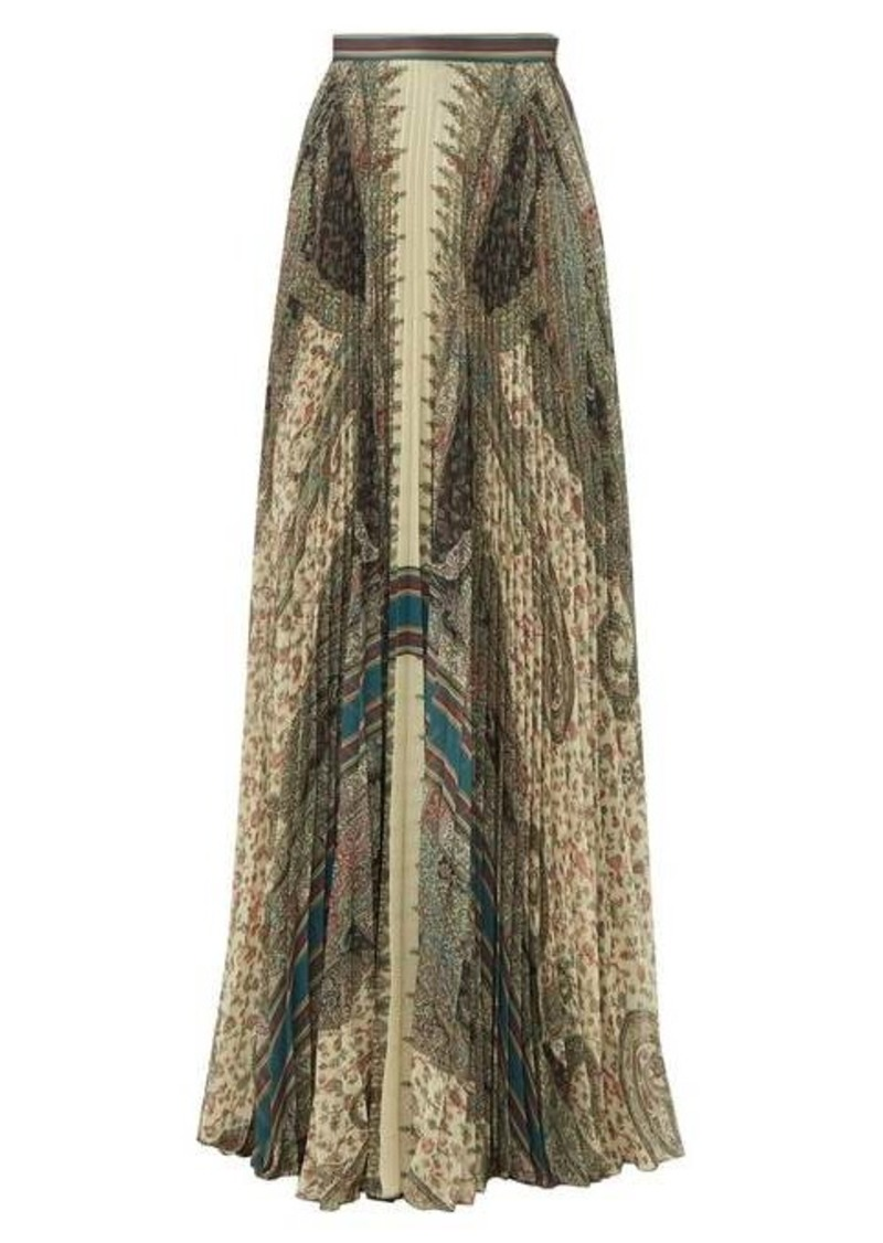 Etro Devon paisley-print pleated maxi skirt