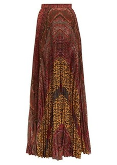 Etro Devon pleated paisley-print maxi skirt
