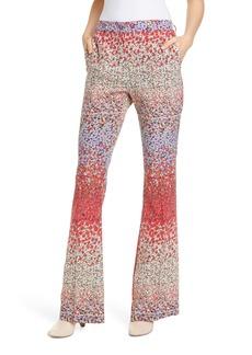 Etro Dégradé Floral Print Silk Flare Pants