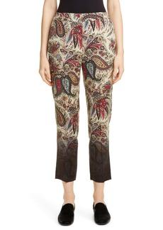Etro Dégradé Paisley Print Wool Crop Pants