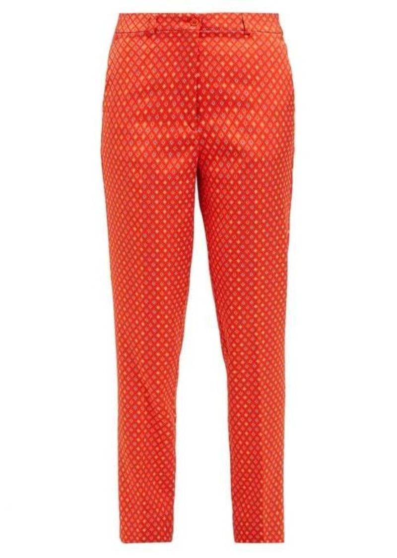 Etro Diamond-jacquard capri trousers