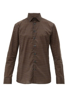 Etro Diamond-print cotton-poplin shirt