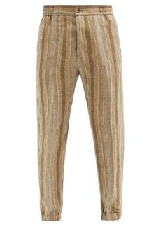 Etro Elasticated-waist striped linen trousers