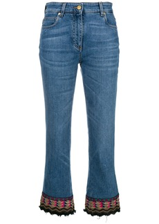 Etro embroidered detail cropped jeans - Blue