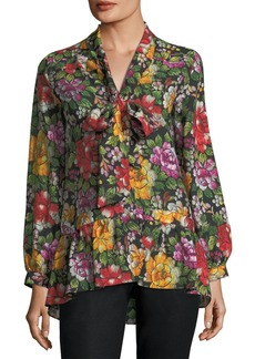 Etro Embroidered Floral Silk Peplum Top