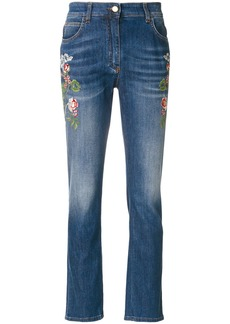 Etro embroidered flower jeans - Blue