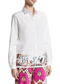 Etro Embroidered-Hem Cotton Blouse