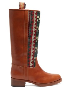 Etro Embroidered leather riding boots