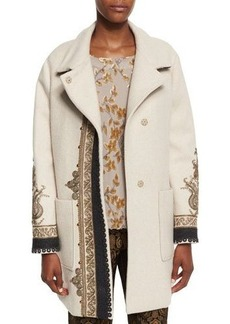 Etro Embroidered Long Wool-Blend Coat