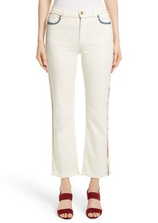 Etro Embroidered Piping Crop Jeans