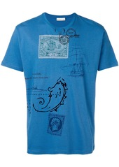 Etro embroidered postcard print T-shirt