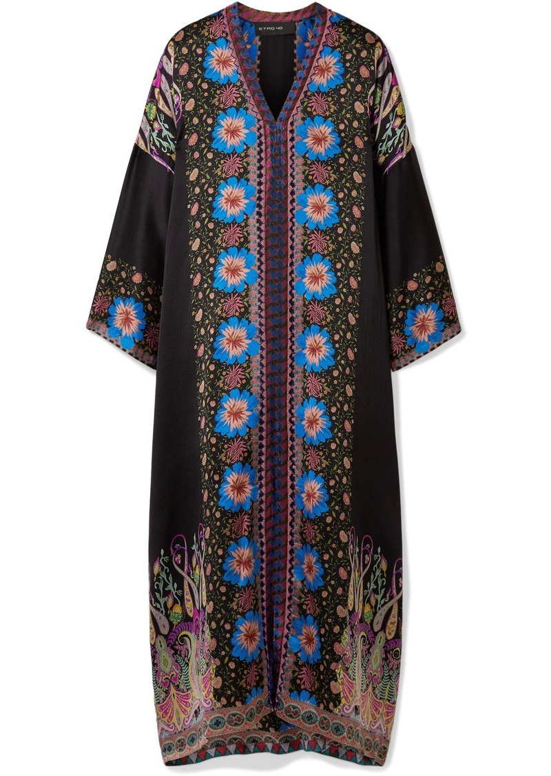 78496c8d497 Etro Embroidered printed silk-satin kaftan