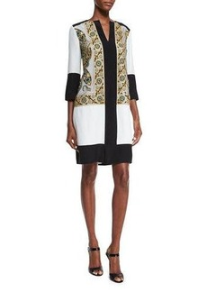 Etro Embroidered Split-Neck Tunic Dress