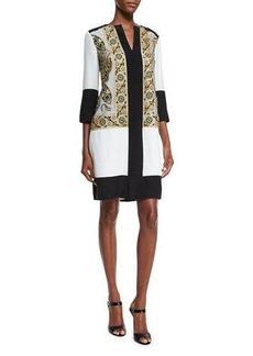 Etro Embroidered Split-Neck Tunic Dress