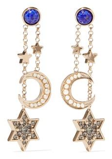 Enameled gold-tone crystal earrings