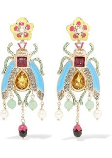 Enameled gold-tone multi-stone earrings