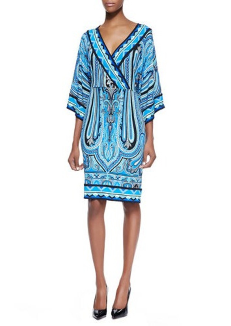 Etro Engineer Paisley Faux-Wrap Column Dress, Blue