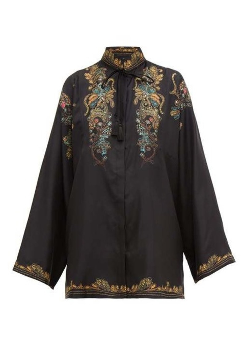 Etro Feather-print silk-faille blouse