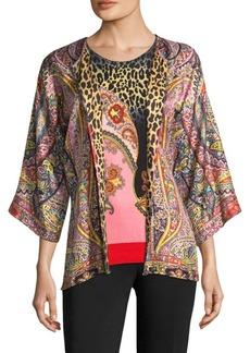 Etro Fern Paisley & Leopard Silk Cardigan