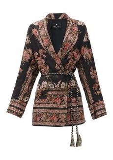 Etro Fleuve belted floral-jacquard satin jacket