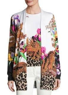 Etro Floral & Animal-Print Stampa Open Cardigan