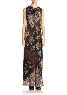 Etro Floral Banded Plaid Silk Scarf Gown