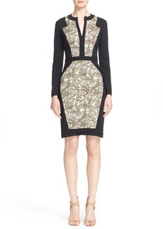 Etro Floral Brocade Panel Sheath Dress