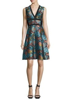 Etro Floral Brocade V-Neck Corset Dress