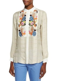 Etro Floral-Embroidered Check Blouse
