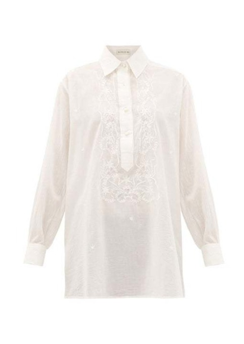 Etro Floral-embroidered cotton blouse