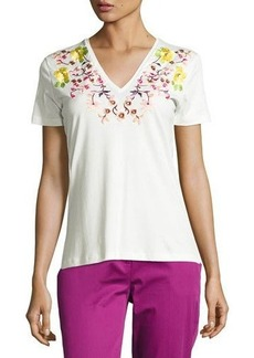 Etro Floral-Embroidered V-Neck Tee