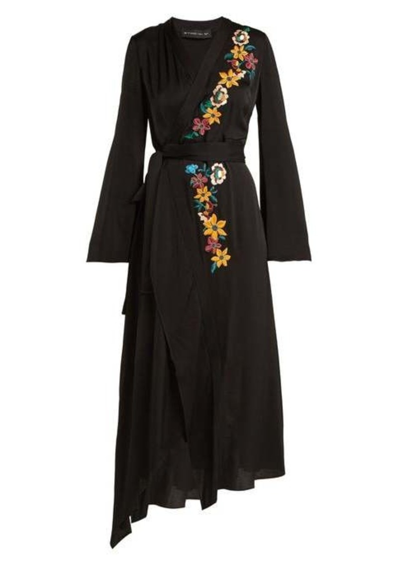 Etro Floral-embroidered wrap dress