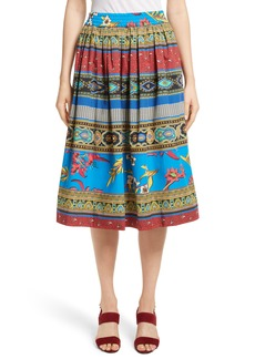 Etro Floral Geo Print Cotton Skirt