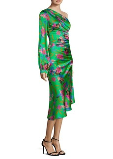 Floral One-Sleeve Ruched Dress