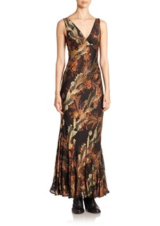 Etro Floral Paisley Fil Coupe Gown