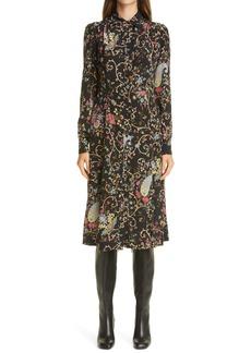Etro Floral Paisley Long Sleeve Silk Shirtdress