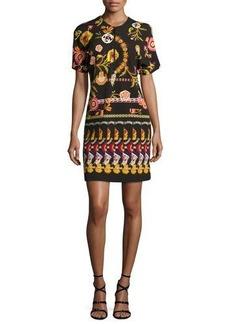 Etro Floral Paisley Ponte Zip-Front Minidress